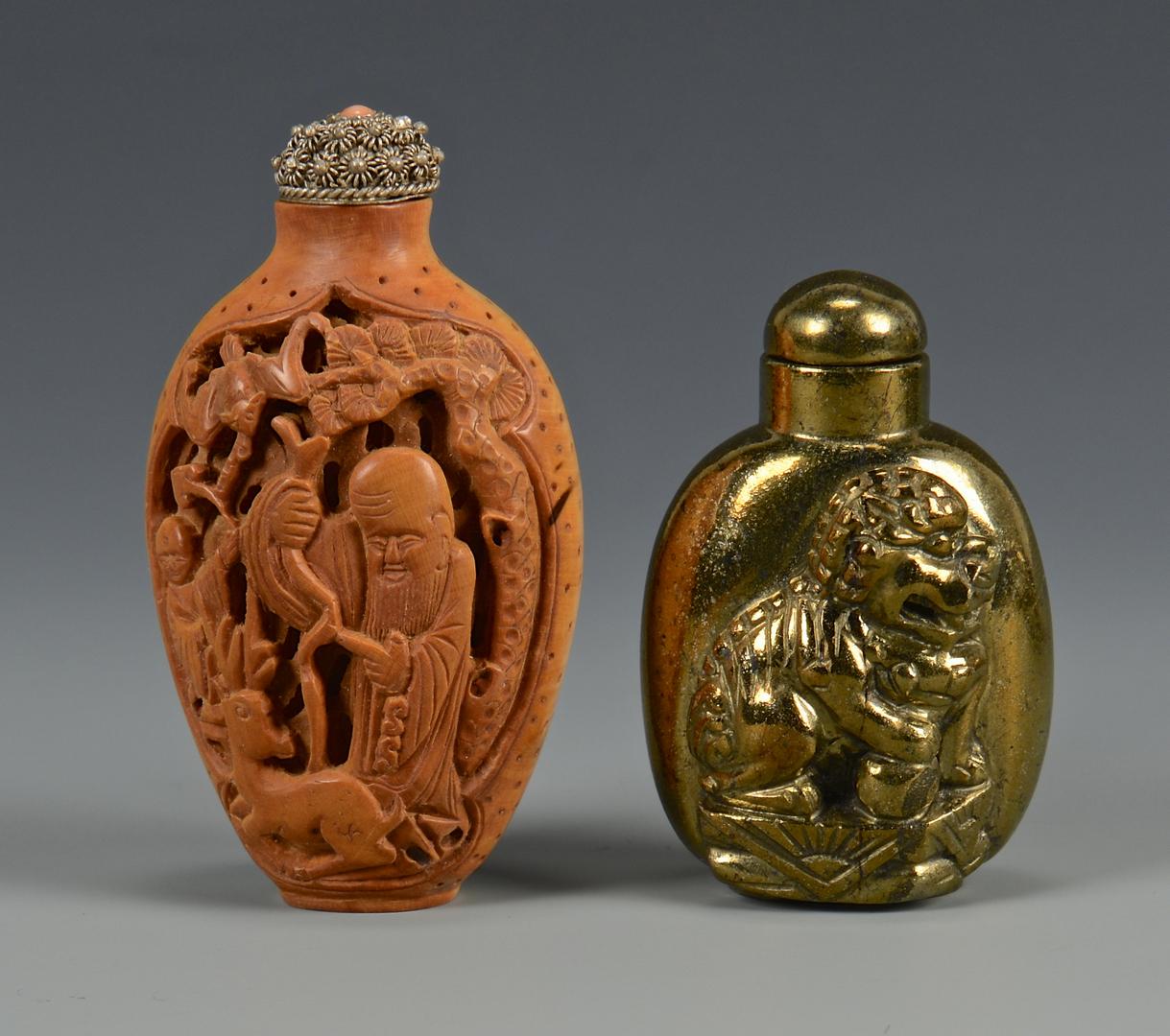 Lot 216: 2 Snuff Bottles & Elephant Figure