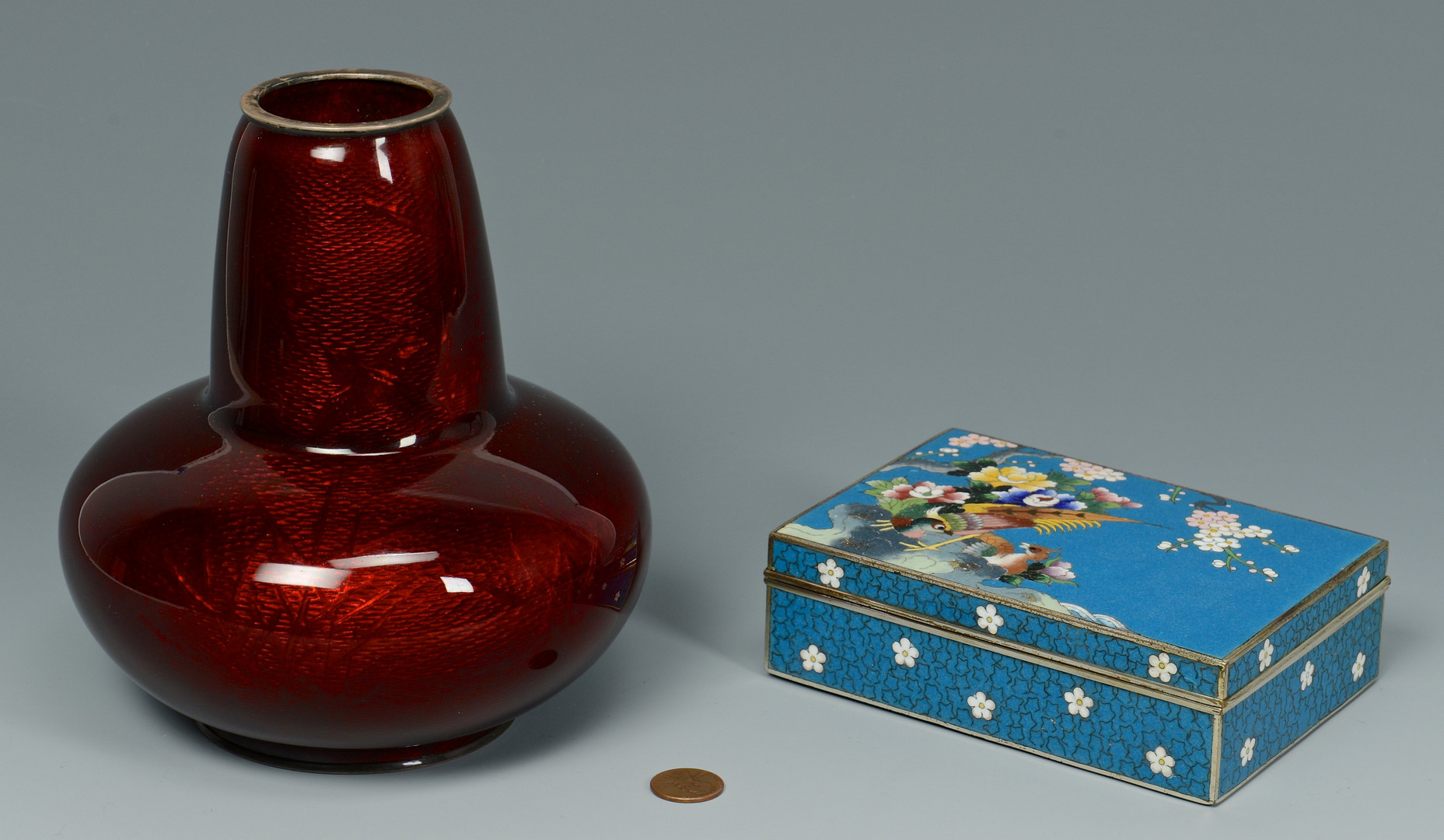 Lot 217: Japanese Cloisonne Vase & Box