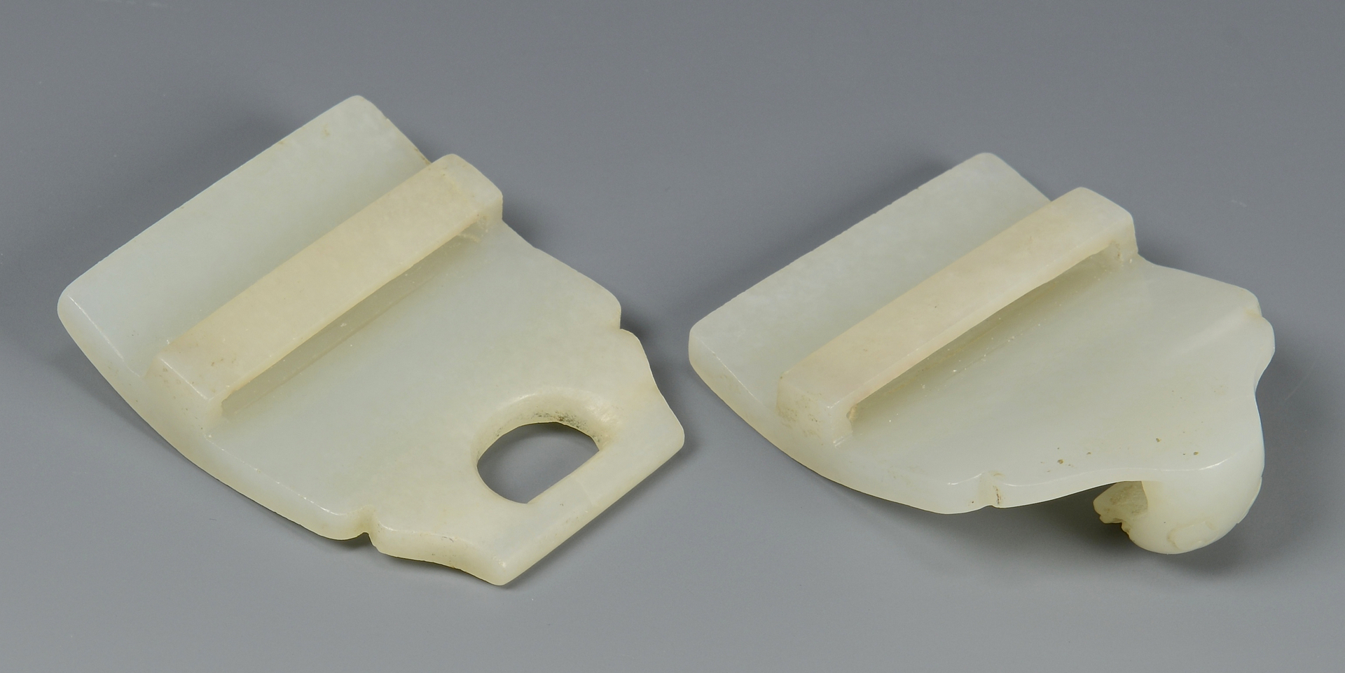 Lot 21: Chinese White Jade Dragon Buckle