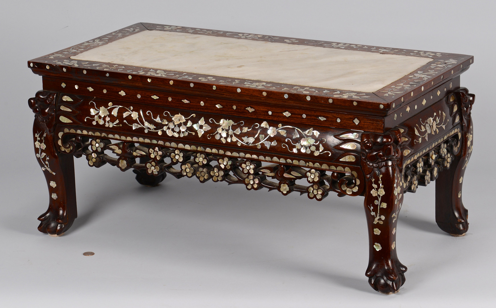 Lot 222: Inlaid Rosewood Low Table