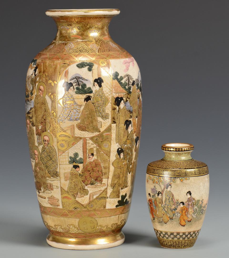Lot 228: 3 Satsuma Vases with Shimazu crests