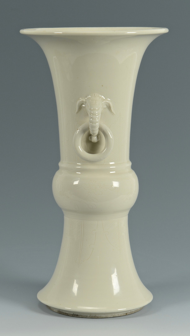lot 230 chinese blanc de chine vase w elephant handles. Black Bedroom Furniture Sets. Home Design Ideas