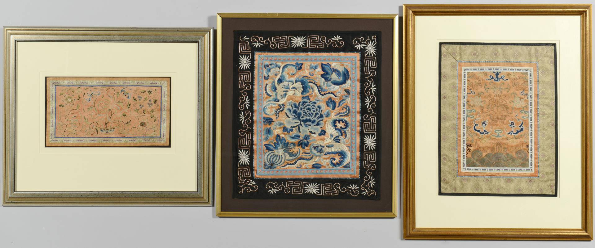Lot 235: 3 Chinese Forbidden Stitch Embroideries