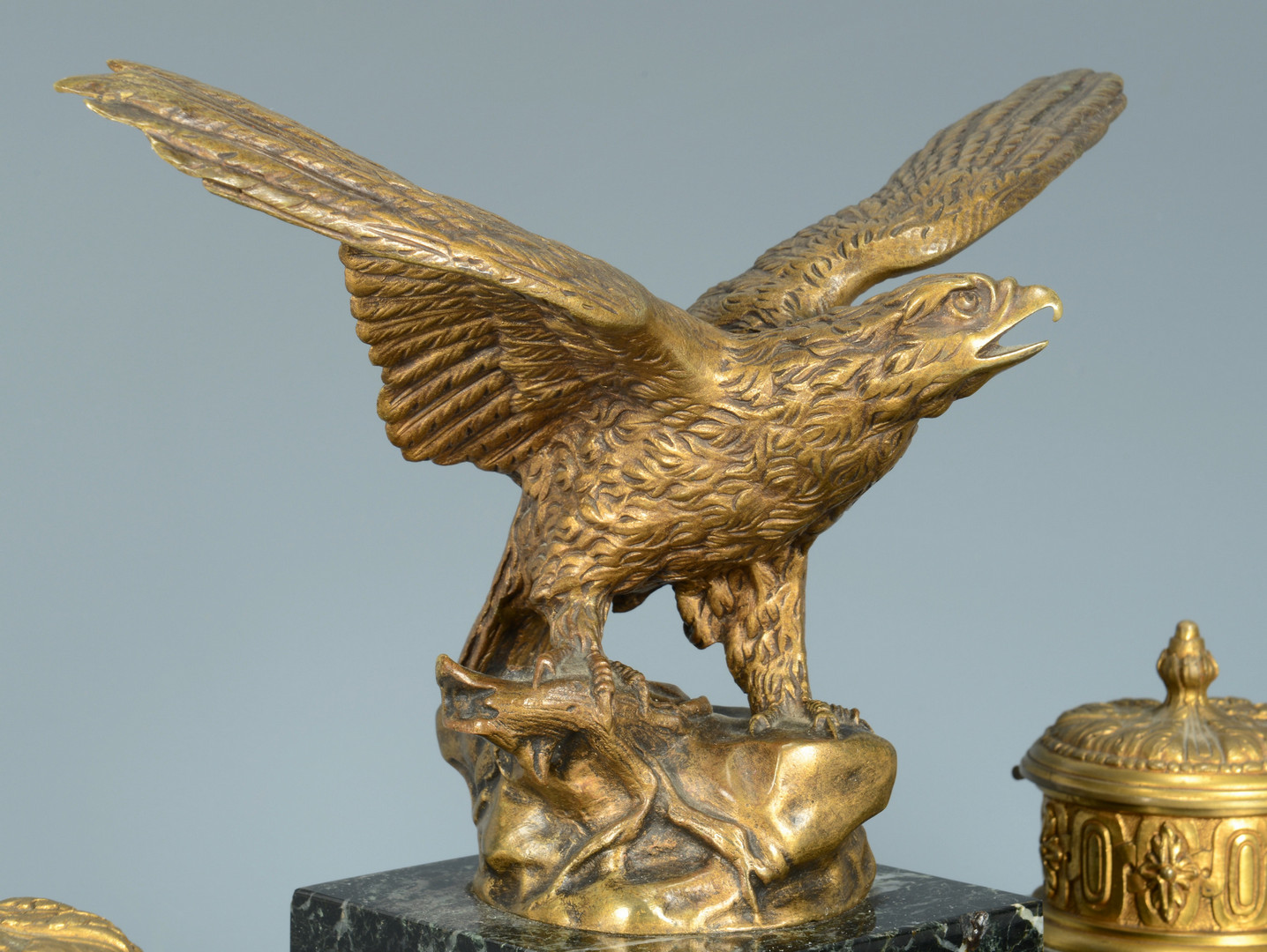 Lot 236: Marble Inkwell w/ Bronze Eagle