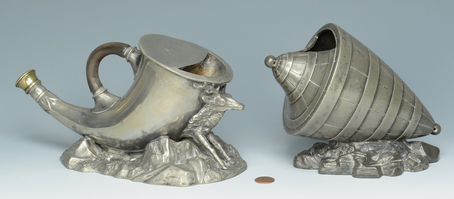 Lot 238: 2 Pewter spoon warmers & tray