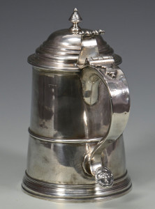 Lot 240: 18th c. Boston Silver Tankard, Wm. Simpkins