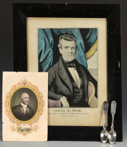 Lot 245: 2 S. Bell Coin Spoons & Polk, Houston Prints