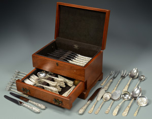 Lot 249: Kirk & Son Sterling Repousse Flatware, 80 pcs.