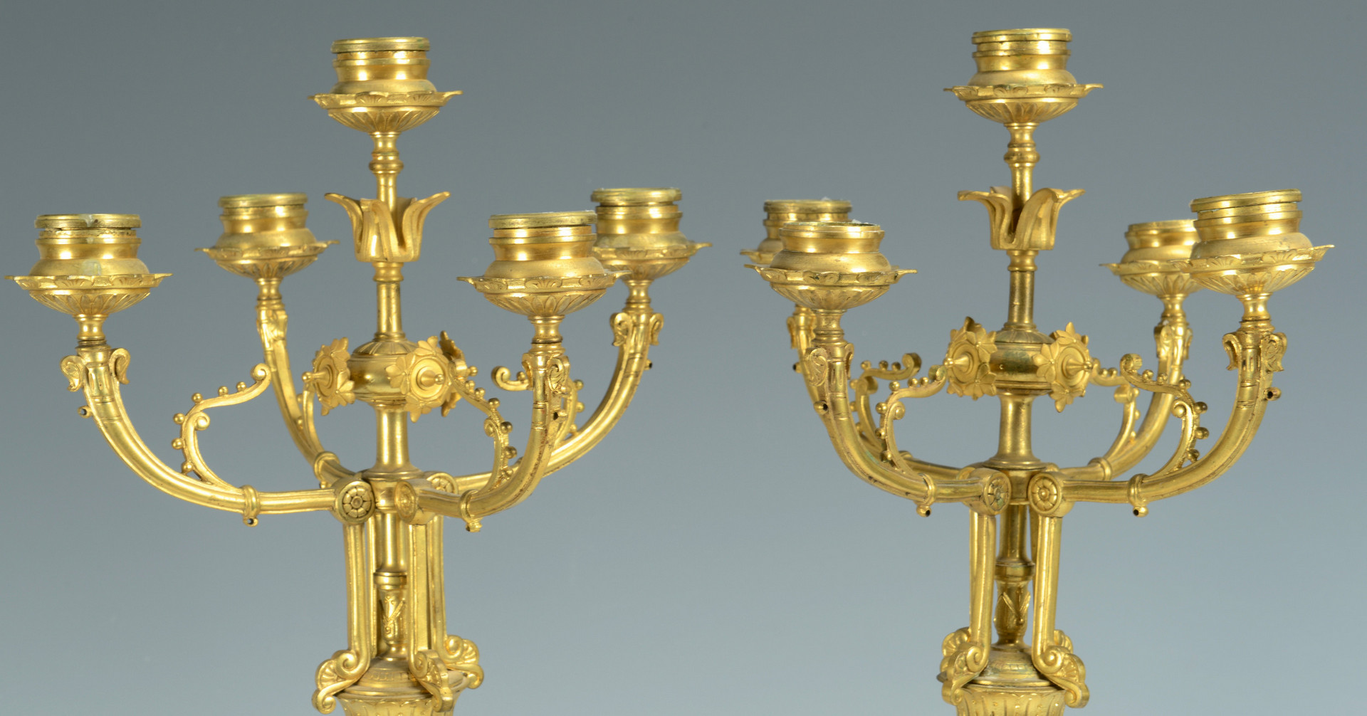 Lot 24: Pr. Enameled Onyx Candelabra
