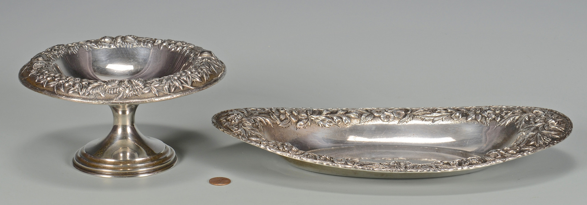 Lot 250: Kirk Repousse Bread Tray, Compote