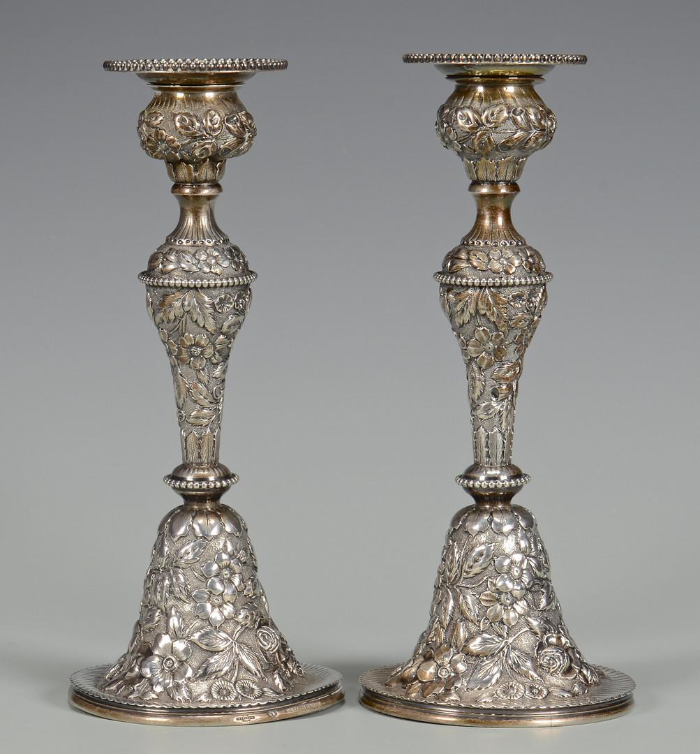 Lot 251: Pair Stieff Repousse Candlesticks
