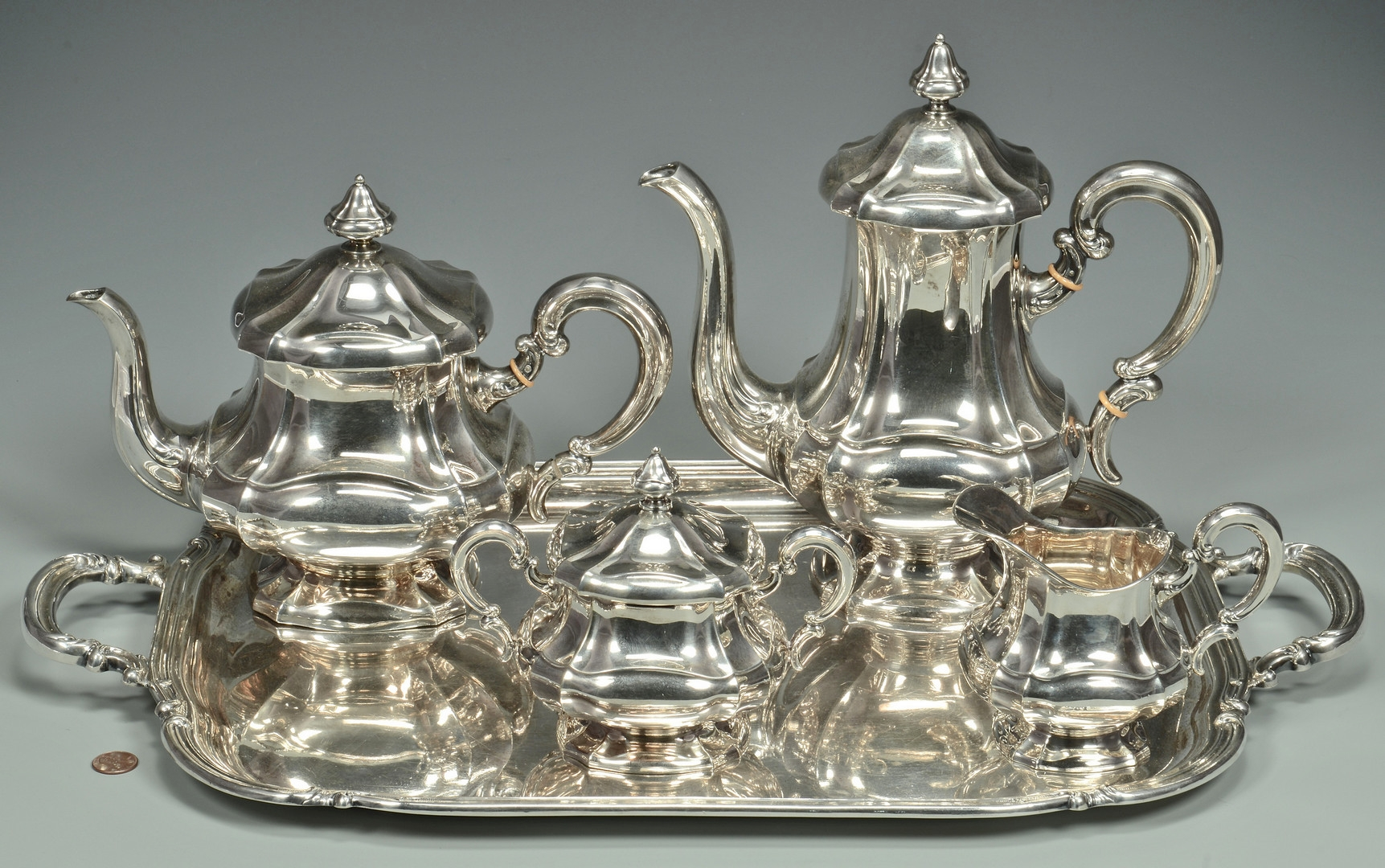 Lot 253: German .925 tea service & tray