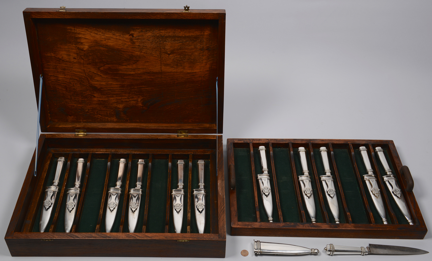 Lot 258: Set of 12 Silver Gaucho Knives, Argentina