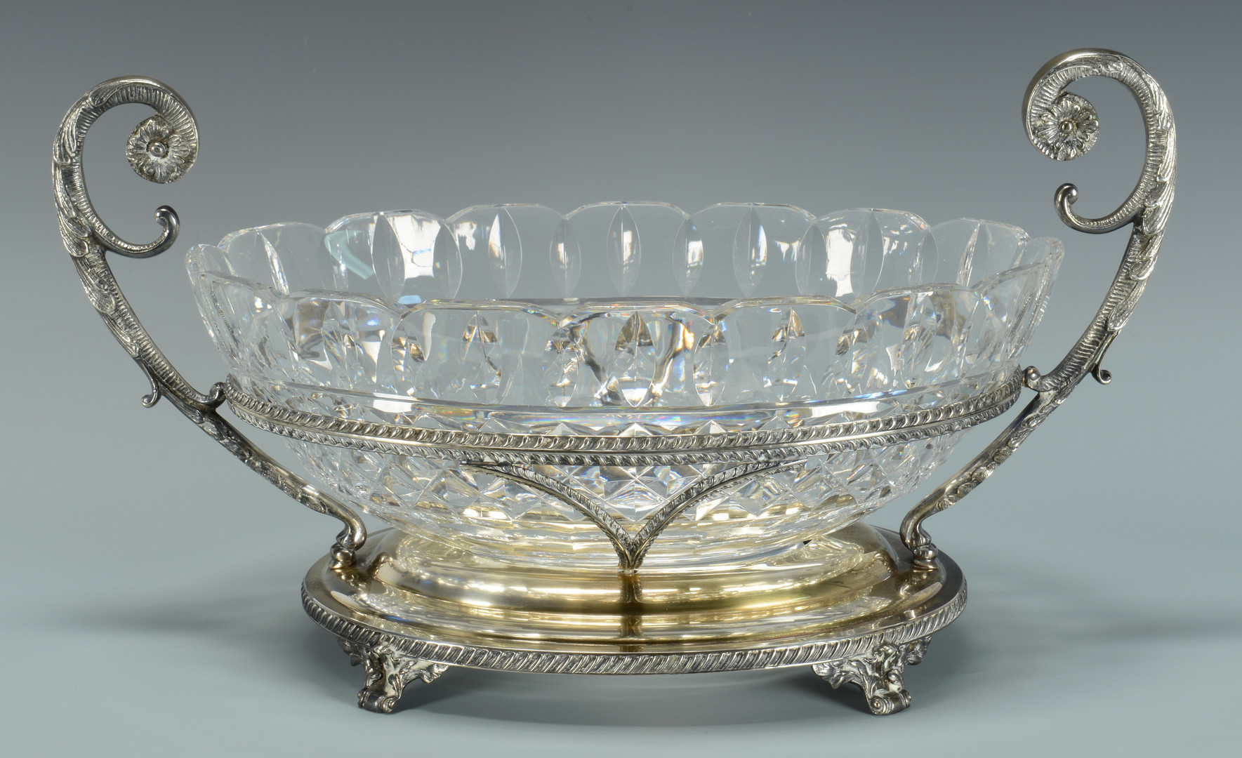 Lot 25: Centerpiece bowl w/Stag horn candlesticks