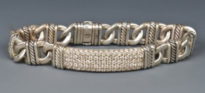 Lot 262: David Yurman Sterling Silver Diamond ID bracelet