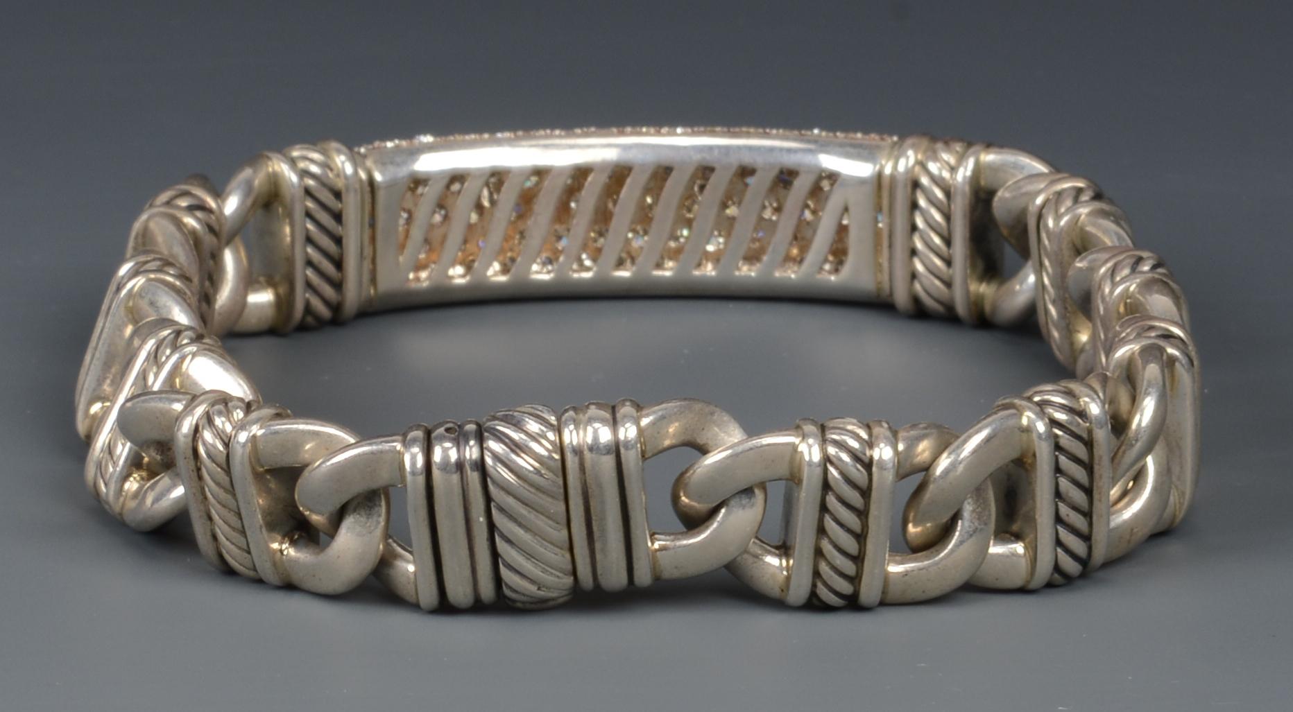 Lot 262: David Yurman Sterling Silver Diamond ID bracelet