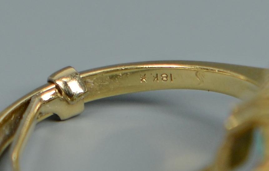 Lot 265: 18K Emerald & Diamond Ring