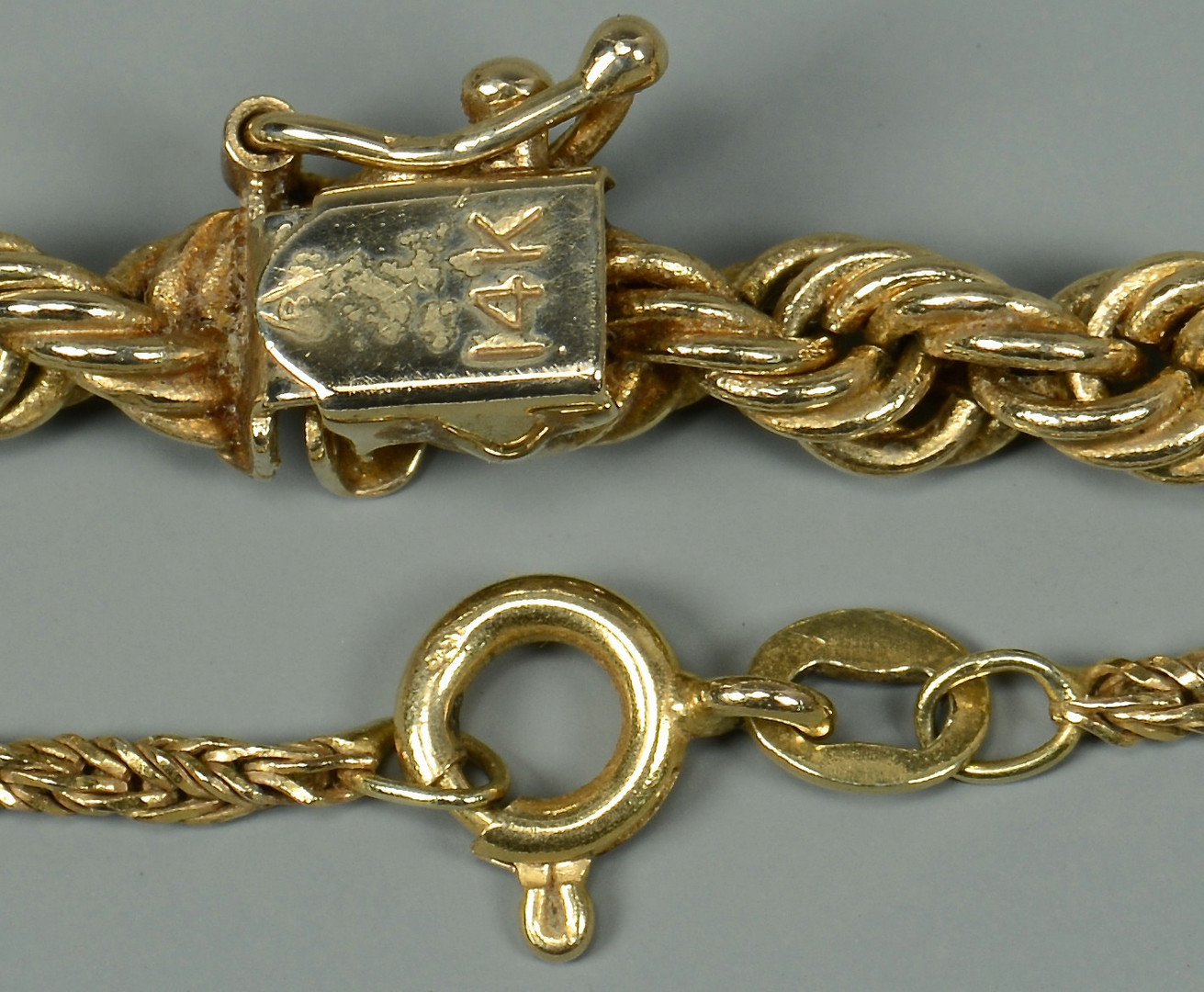 Lot 269: 2 14k Gold Rope Necklaces