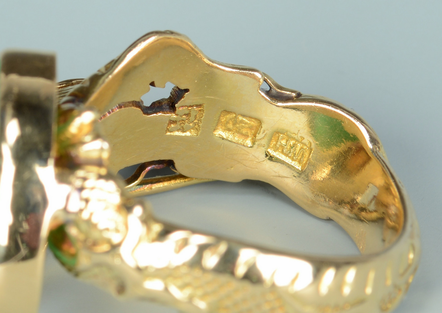 Lot 270: 14k and 18k Gold Jade Rings