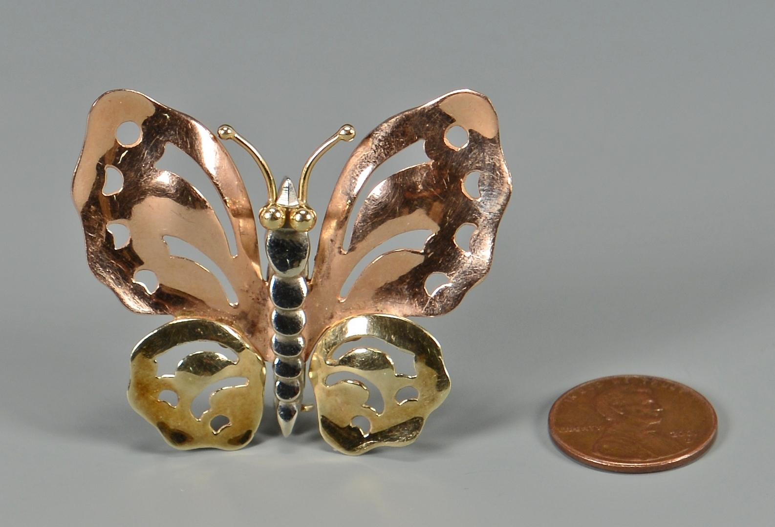 Lot 272: Retro Mossalone 14kt Butterfly Pin