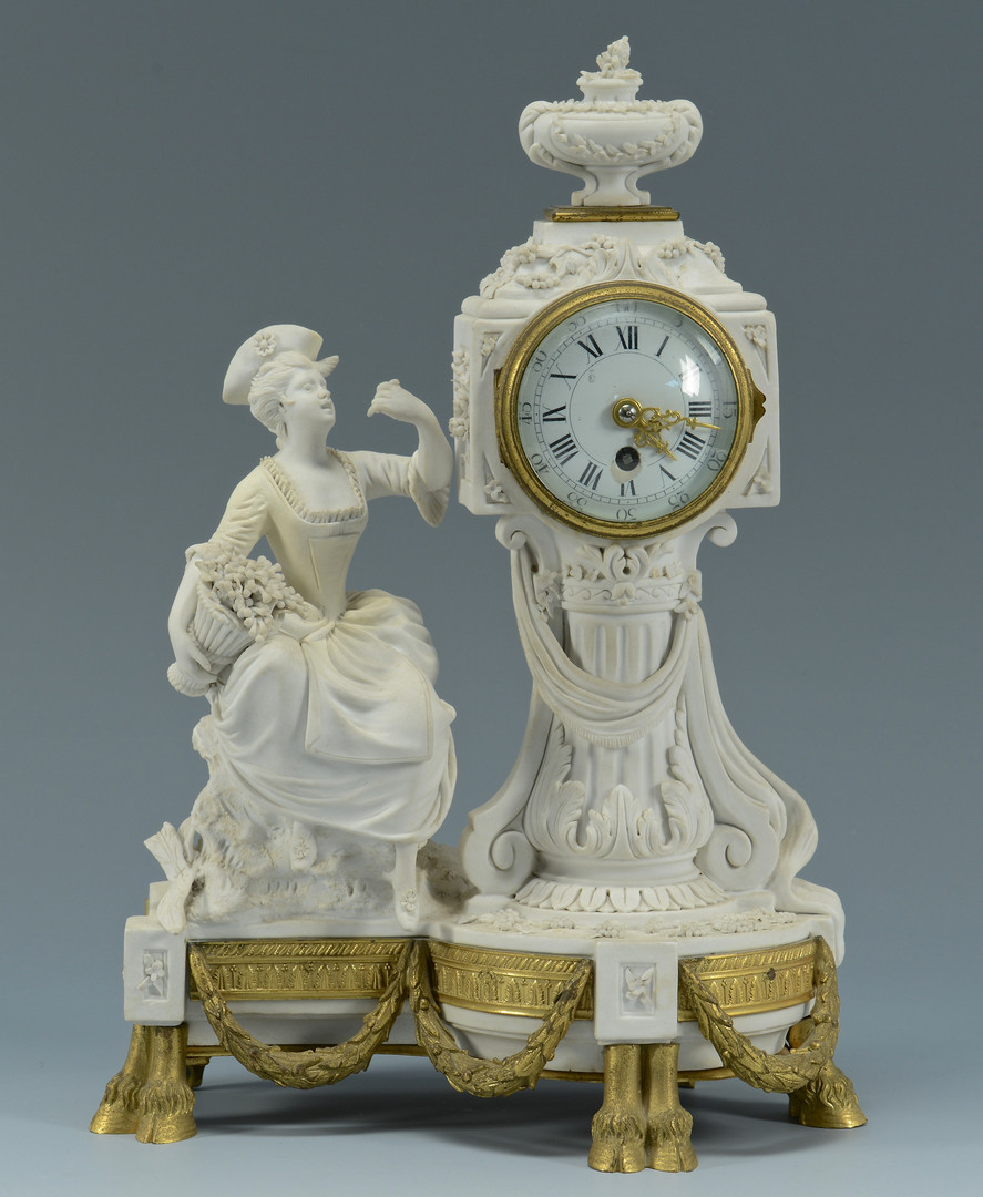 Lot 279: Parian Figural Clock Garniture Set