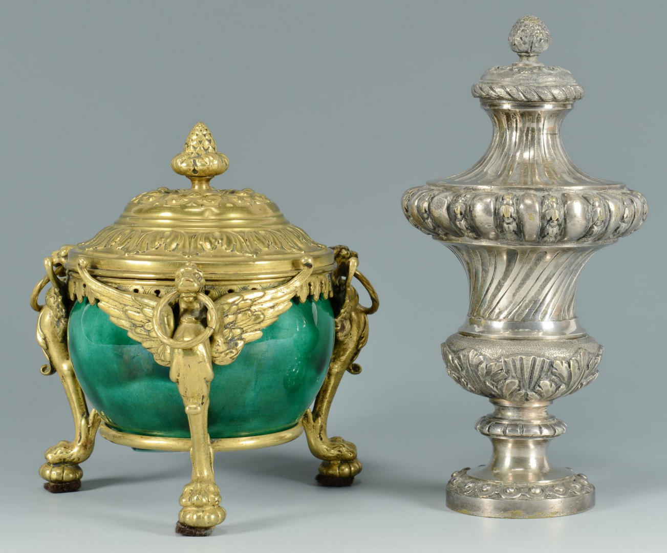 Lot 280: Bronze Ornaments & Gilded Watch Holders