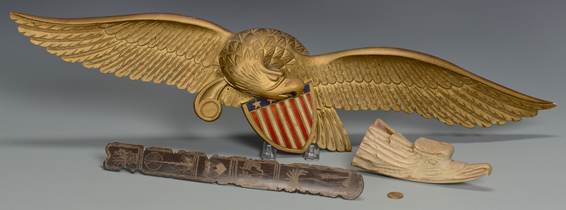 Lot 281: Painted Eagle Carvings & Sailor Art