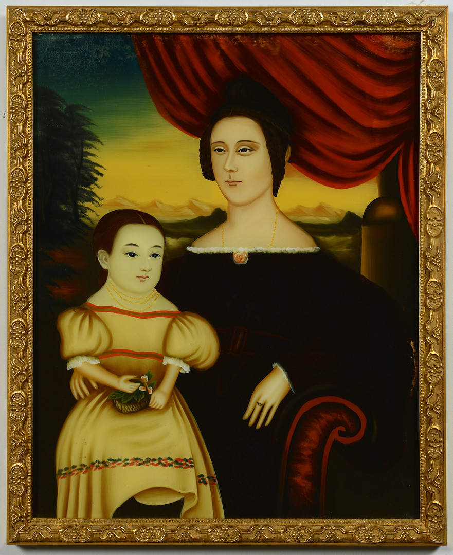 Lot 282: China Trade Painting, Mother & Child