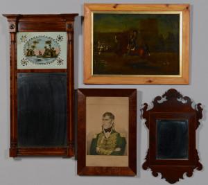 Lot 284: 2 American Mirrors & 2 19th c. Prints
