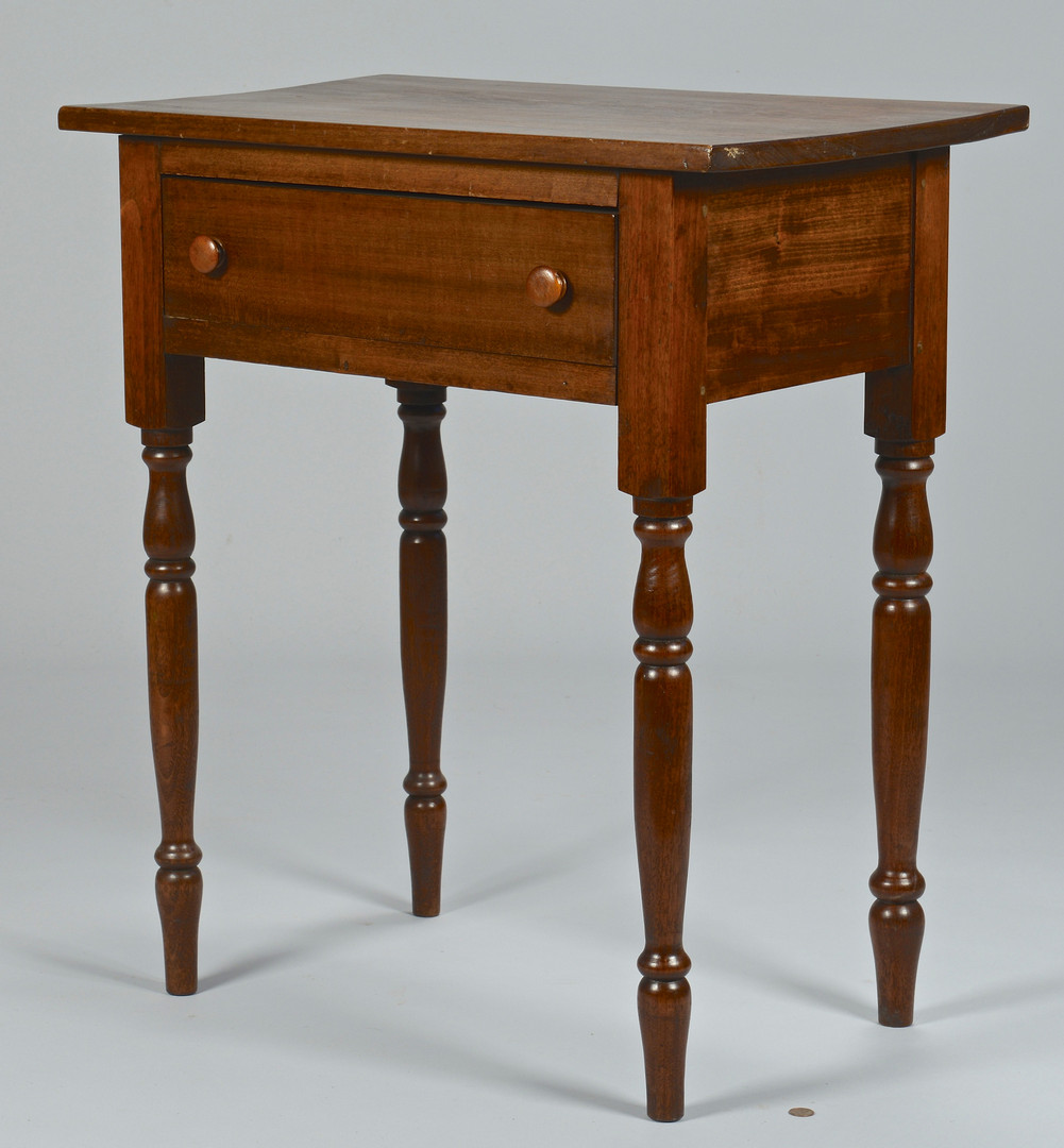 Lot 299: Pair of Tennessee Walnut One Drawer Tables, 2
