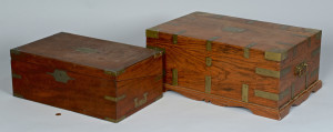 Lot 307: English Lap Desk & Box, 19th c.