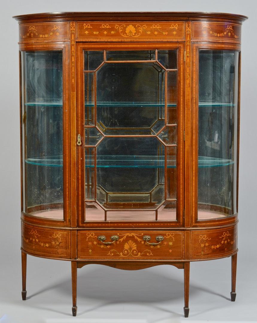 Lot 309: Inlaid Mahogany Vitrine, Beveled Glass