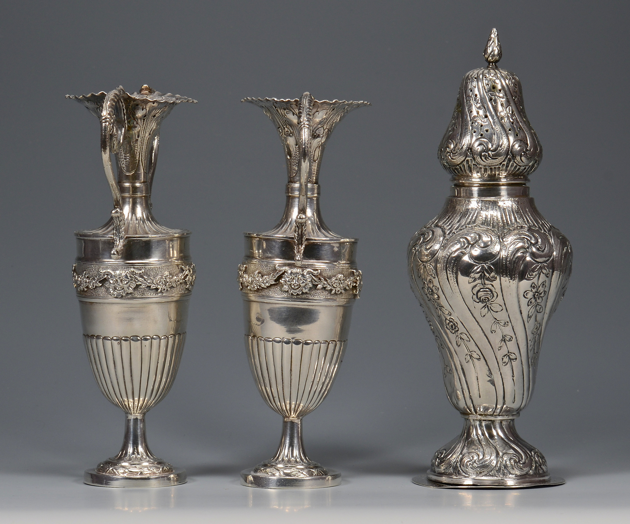 Lot 31: Hanau Silver Urns and Caster
