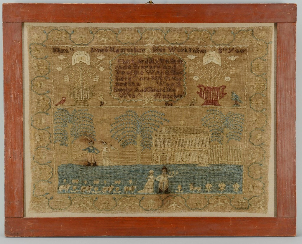 Lot 321: Pennsylvania pictorial Sampler circa 1815
