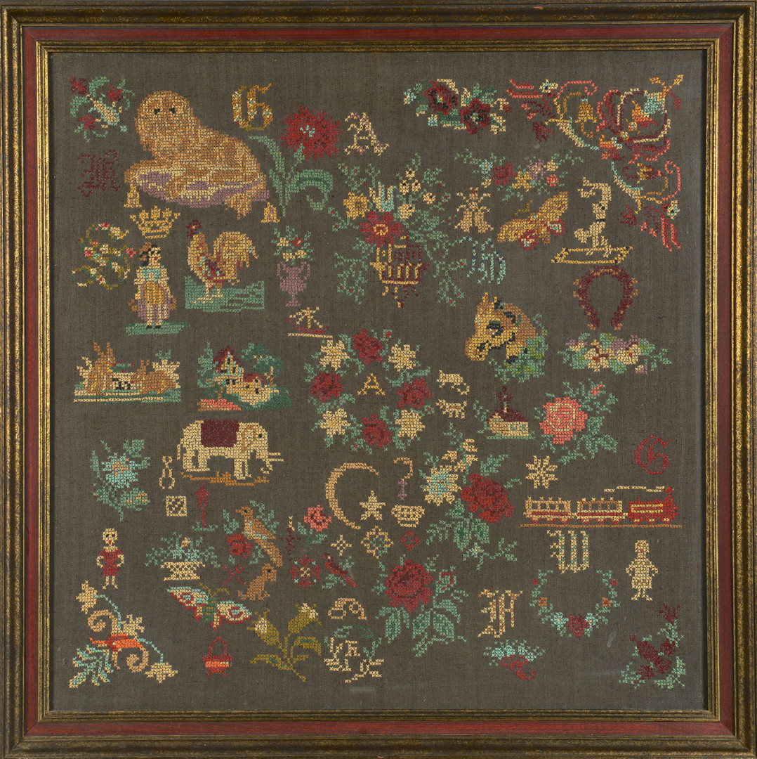 Lot 322: 19th C. English Pictorial Sampler