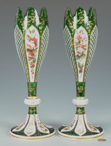 Lot 323: Pr. Enameled Bohemian Glass Vases