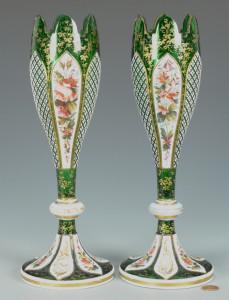 Lot 323: Pr. Enameled Bohemian Glass Vases