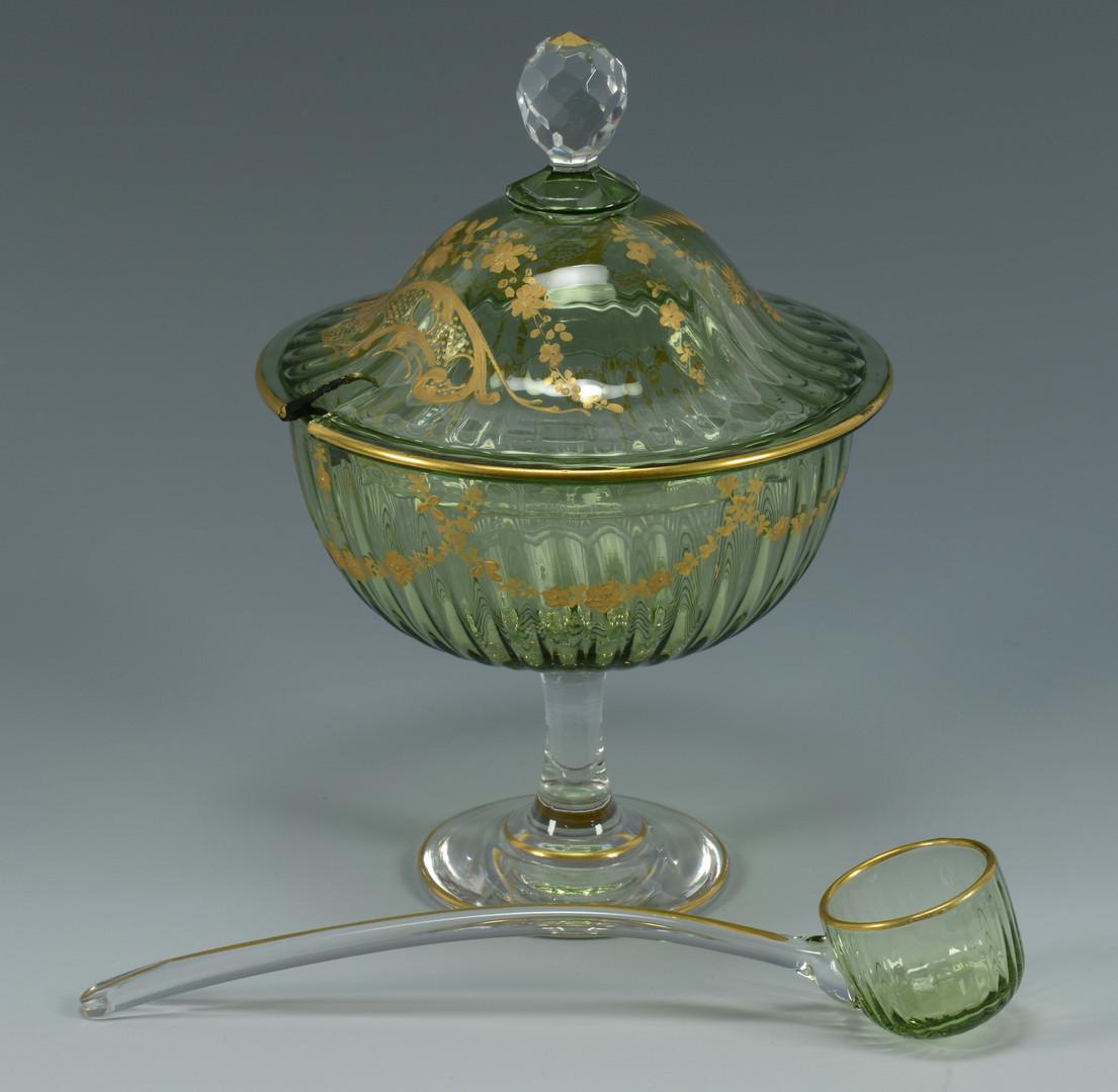 Lot 324: Green Bohemian Glass Vases & Punch Set