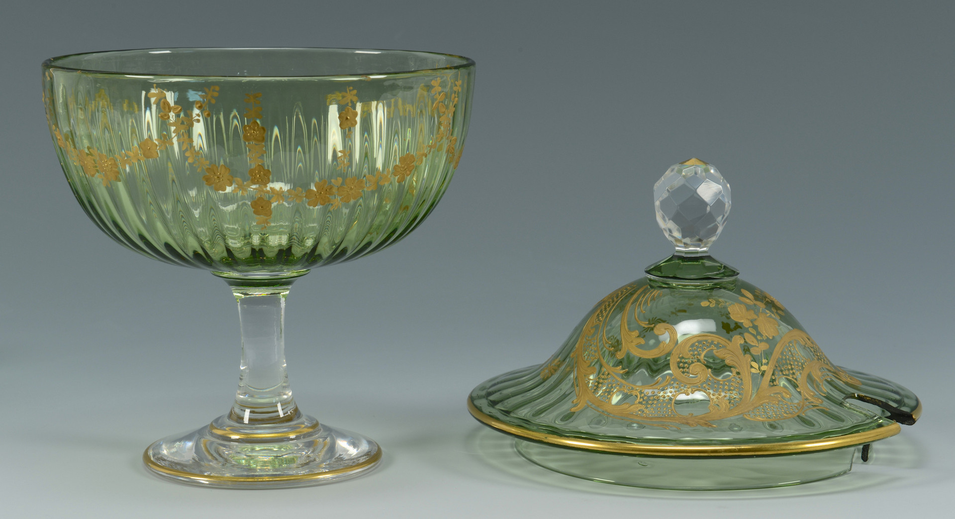 Lot 324: Green Bohemian Glass Vases & Punch Set