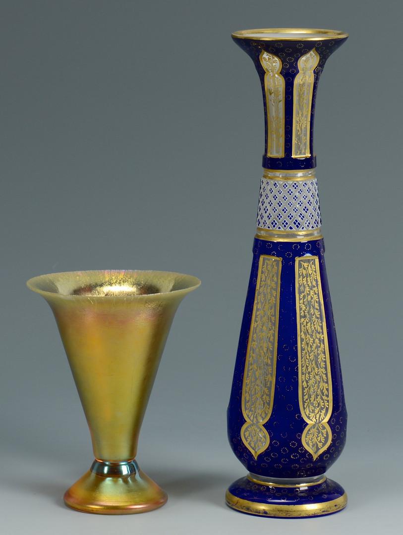 Lot 325: 3 Art Glass Vases inc Bohemian, Iridescent