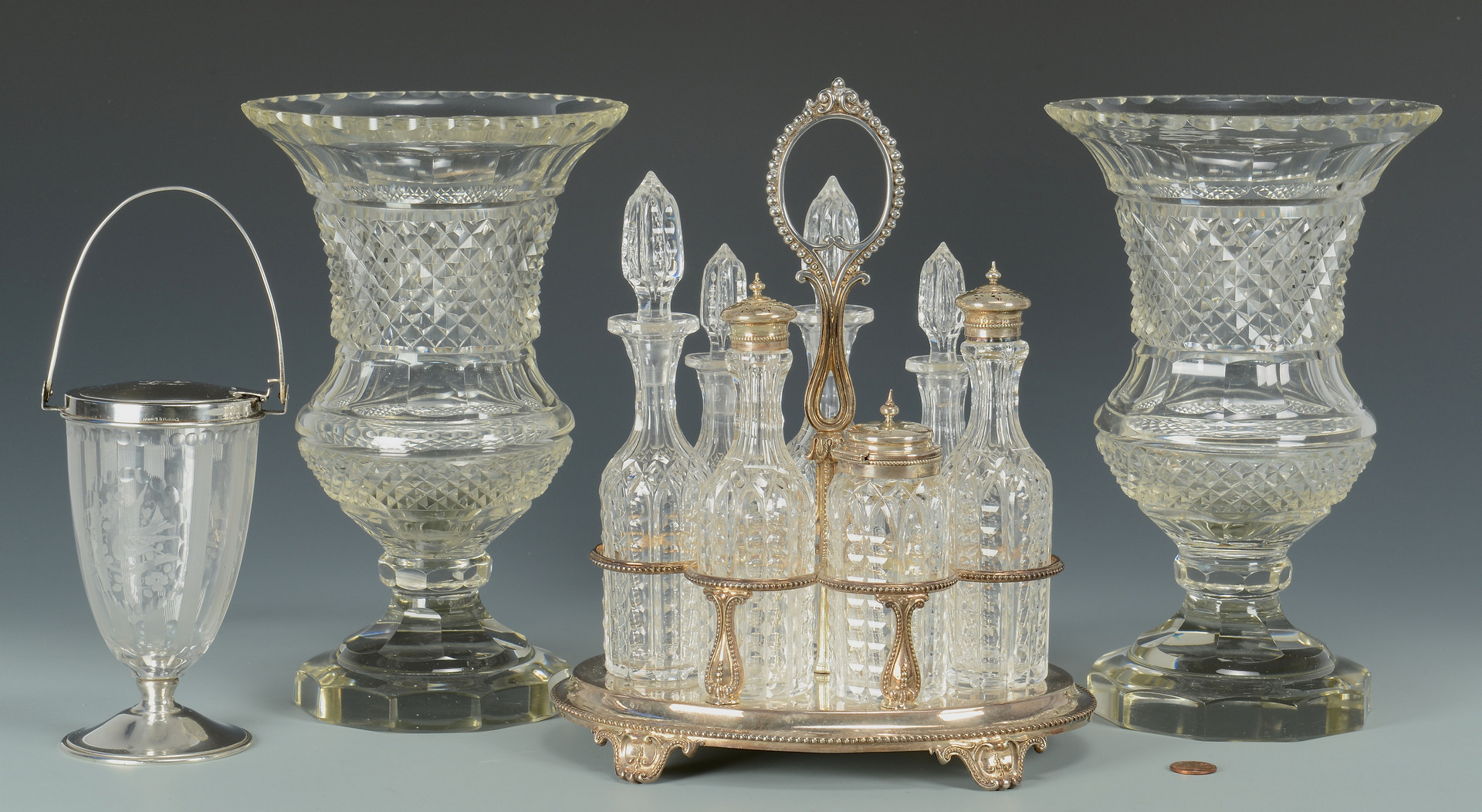 Lot 326: 4 Silver & Glass Table Items