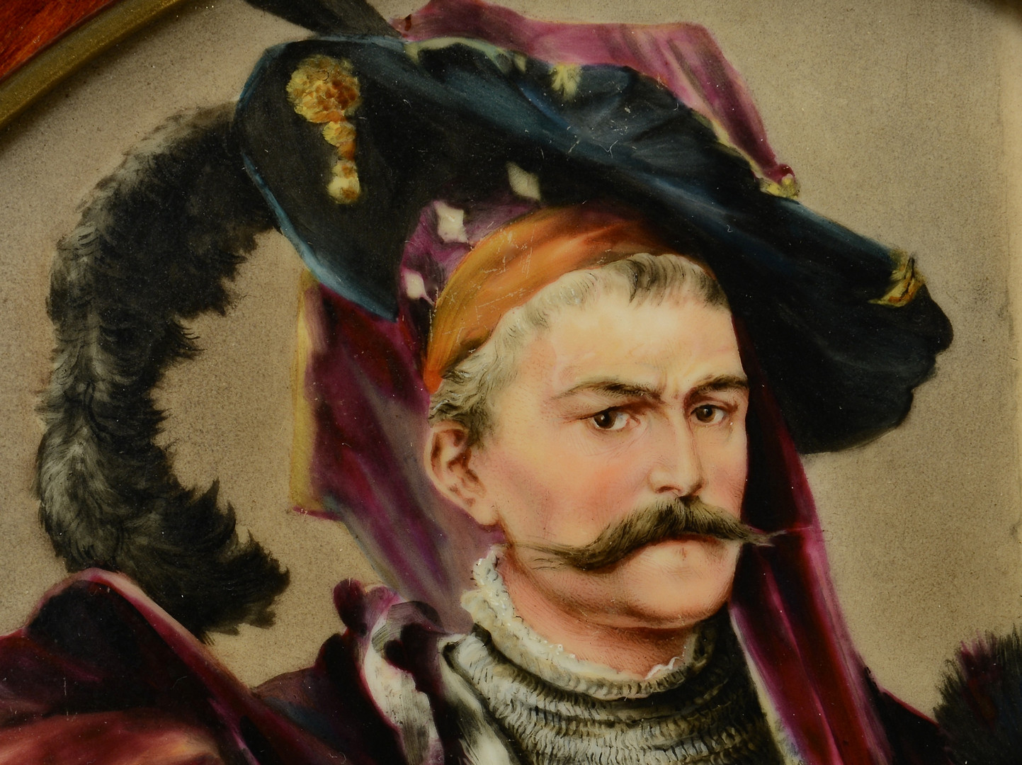 Lot 332: Porcelain Plaque, Man with Armor