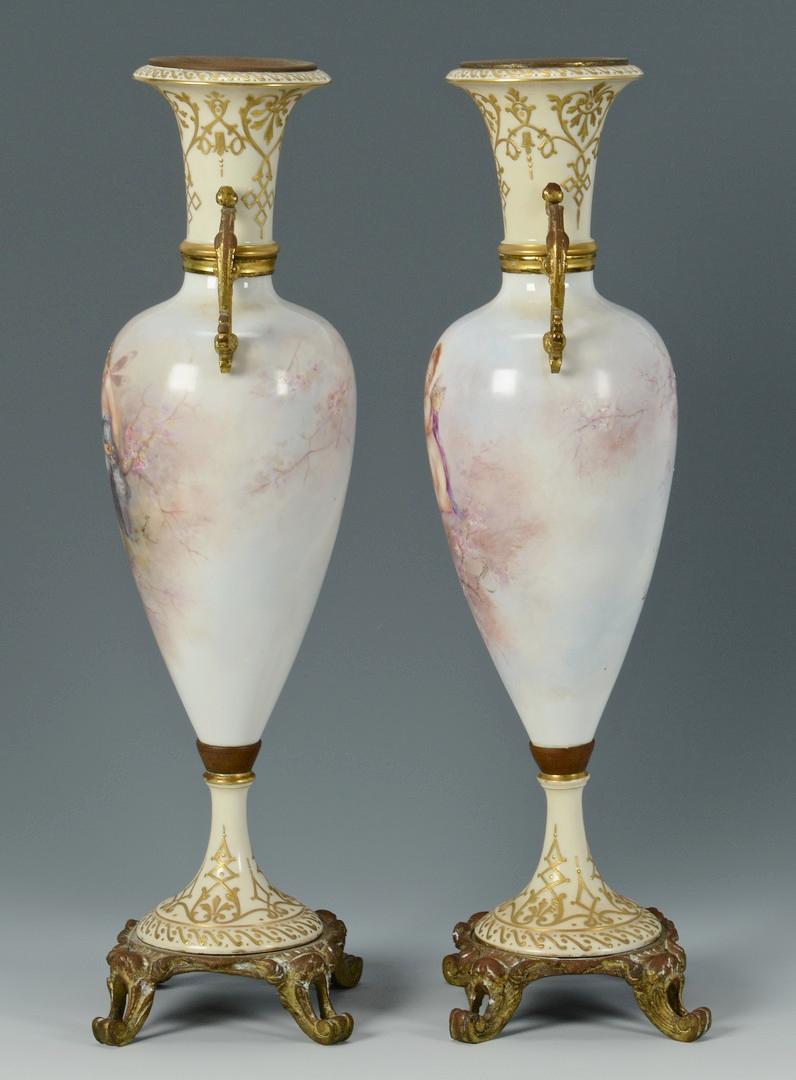 Lot 334: Pr. Signed French Porcelain Urns