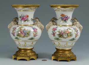 Lot 335: Pr. German KPM Porcelain Urns