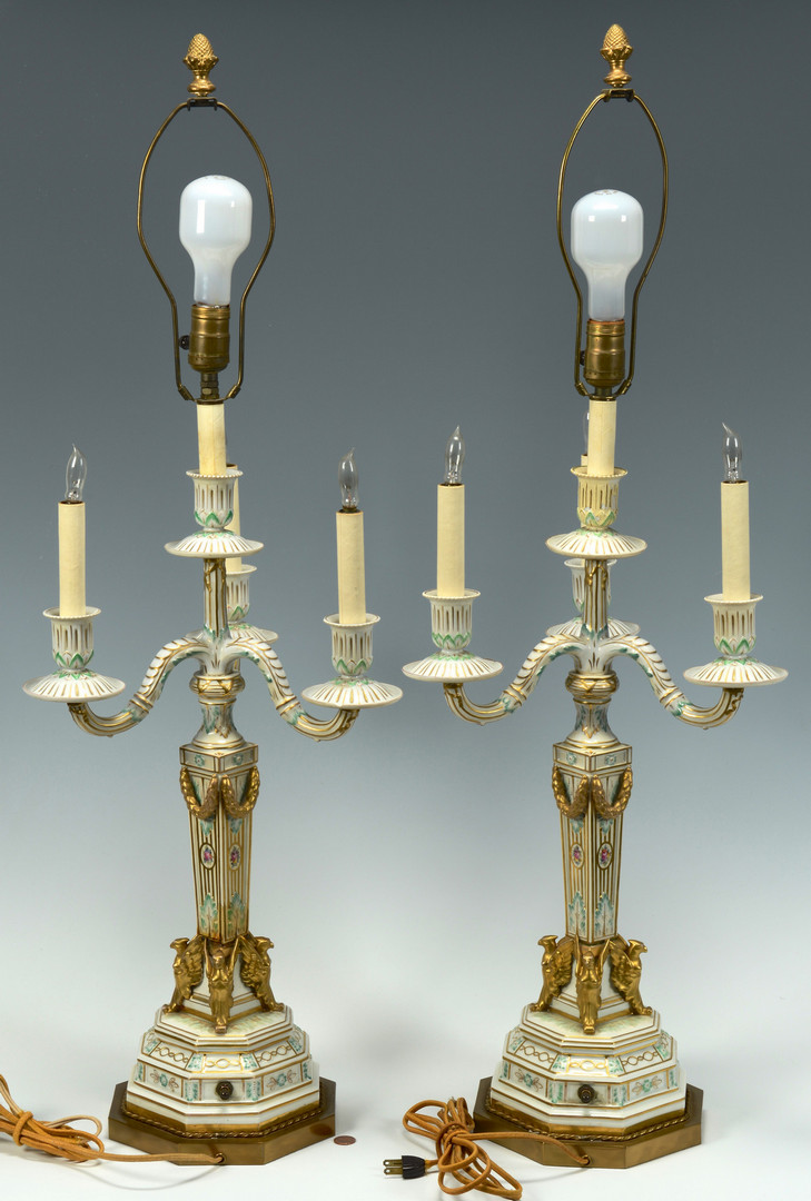 Lot 340: Pair Porcelain Candelabra lamps