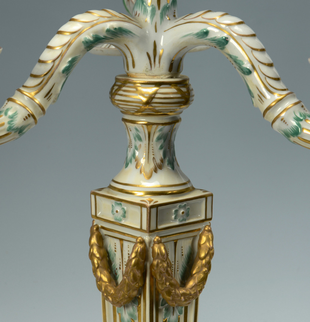 Lot 340: Pair Porcelain Candelabra lamps