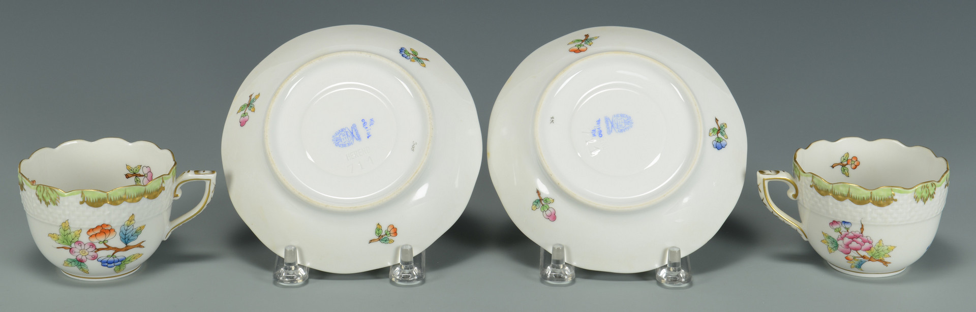 Lot 341: 9 pcs Herend Porcelain inc. Queen Victoria
