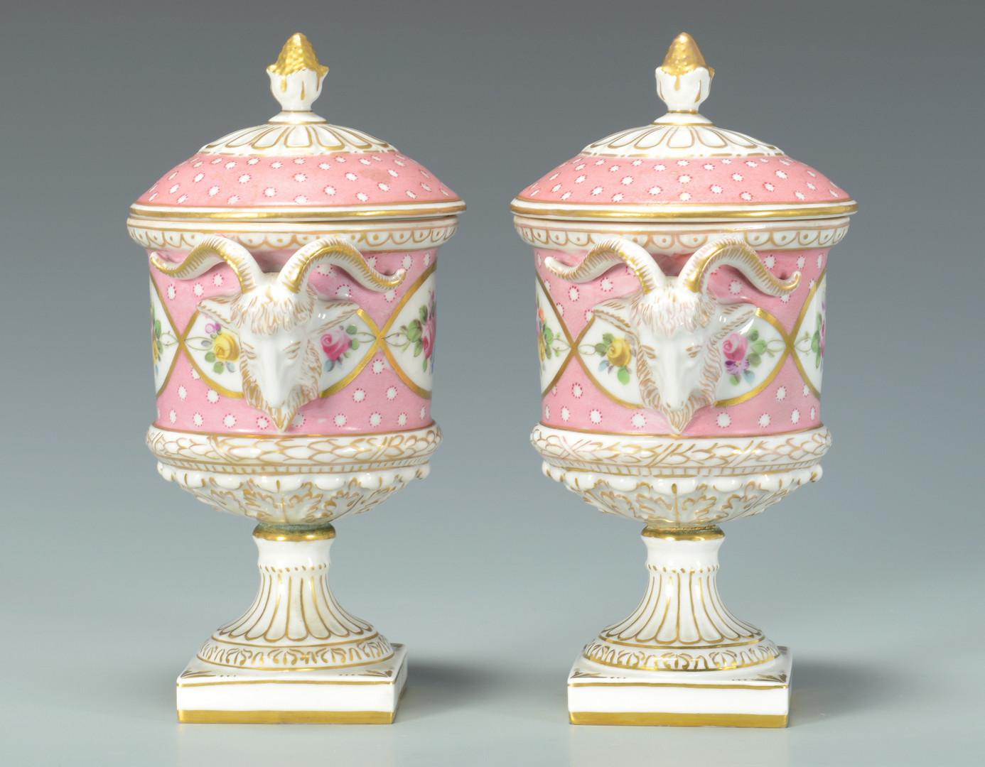Lot 343: Pair Miniature Urns w/ Ram Masks