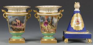 Lot 344: Pair Worcester Urns & Derby Pastille Burner