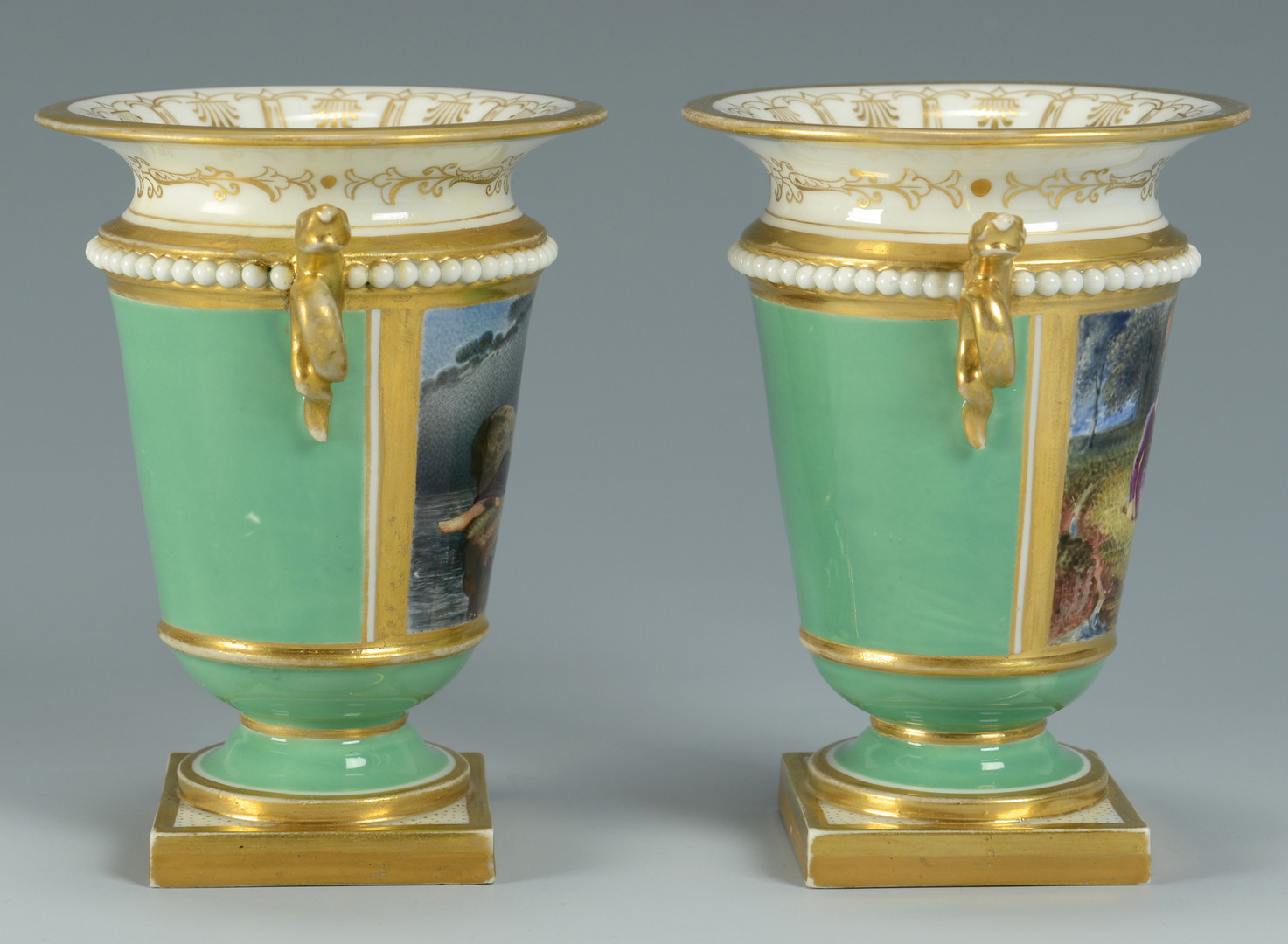 Lot 344: Pair Worcester Urns & Derby Pastille Burner